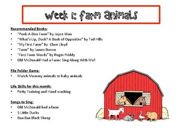 Toddler Farm Animals Themed Lesson Plan