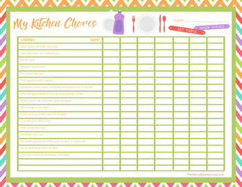 Toddler Kitchen Chore Charts Printable Set By The Natural Homeschool
