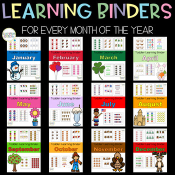Toddler Learning Binders - 12 Month Bundle