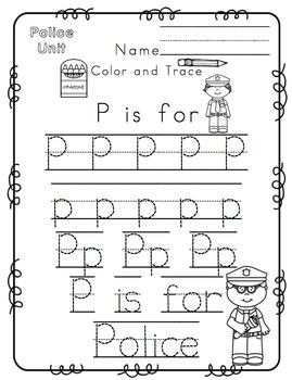 Police Worksheets For Kindergarten