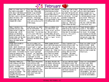 Toddler/Preschool Speech & Language Activity Calendar-February