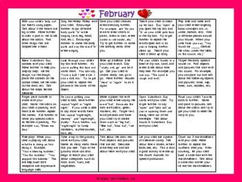 Toddler/Preschool Speech & Language Activity Calendar-February