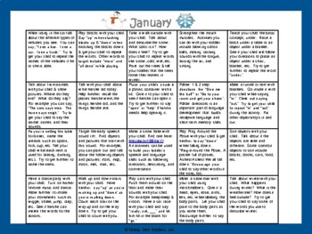 Toddler/Preschool Speech & Language Activity Calendar-January
