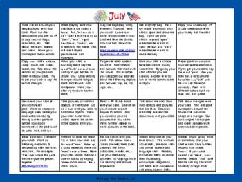Toddler/Preschool Speech & Language Activity Calendar-July