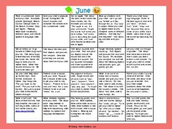 Toddler/Preschool Speech & Language Activity Calendar-June