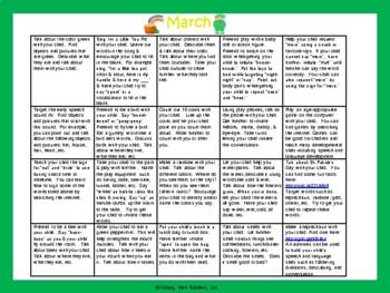Toddler/Preschool Speech & Language Activity Calendar-March