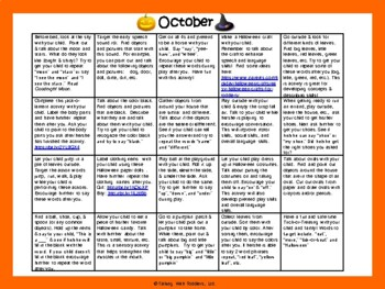 Toddler/Preschool Speech & Language Activity Calendar-October