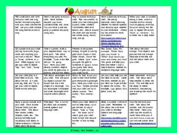 Toddler/Preschool Speech & Language Activity Calendar-August