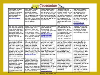 Toddler/Preschool Speech & Language Activity Calendar-September