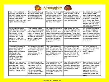 Toddler/Preschool Speech & Language Activity Calendar-November
