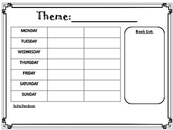 Toddler Thematic Unit Planner