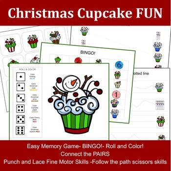 Toddler Worksheet: Christmas Cupcake Fun