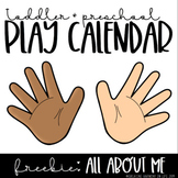 Toddler and Preschool Play Calendar: All About Me FREEBIE