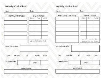 Toddler daily activity sheet