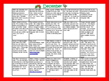 Toddler/Preschool Speech & Language Activity Calendar-December
