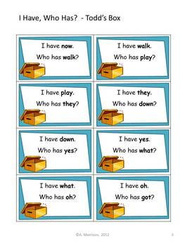 """Todd's Box """"I HAVE, WHO HAS?"""" Sight Word Practice for Harcourt Trophies"""