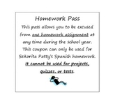 Spanish homework Pass (print front and back)