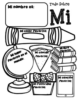 Todo Sobre Mi All About Me Spanish Worksheet | TpT