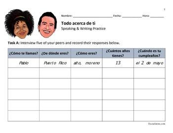 Todo acerca de ti: Spanish Level 1 Speaking & Writing Practice Worksheet
