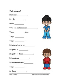 Todo sobre mi Lectura - Spanish Easy Reading All About Me + Worksheet