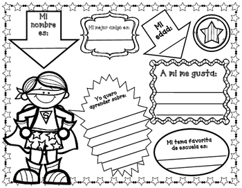 Todo sobre mi:  Superhero Spanish All About Me Unit...