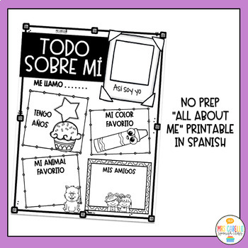 Todo sobre mi - Writing Activity (All about me in Spanish)