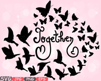 Together Family birds Butterflies butterfly love clipart heart Valentine's -539s