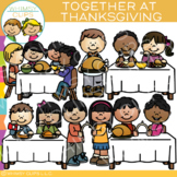 Together at Thanksgiving Clip Art