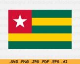 Togo National Flag, Togolese Country Banner Cricut Print, SVG EPS AI PNG JPG PDF