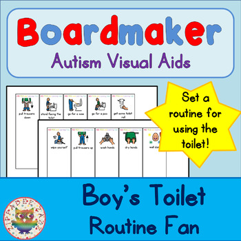 Toilet Routine Fan (boy) - Boardmaker Visual Aids for Autism SPED