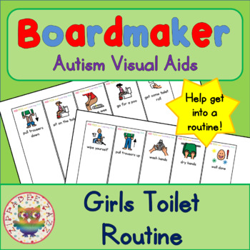 Toilet Routine Fan (girl) - Boardmaker Visual Aids for Autism