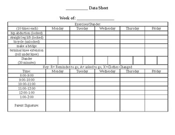 Toileting/Behavior Data Sheet