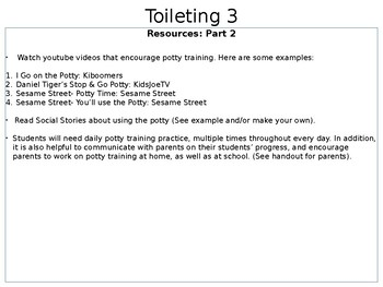 Toileting Lesson Plan, Visuals, and Resources