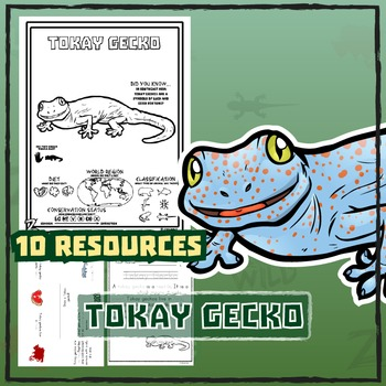 Tokay Gecko -- 10 Resources -- Coloring Pages, Reading & Activities