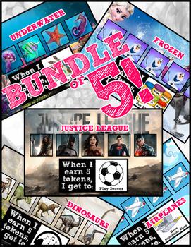 Token Board Bundle - Dinosaurs, Justice League, Airplanes, Underwater & Frozen
