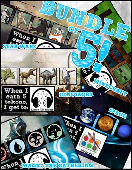 Token Board Bundle - Dinosaurs, Minecraft, Space, Magic & Star Wars