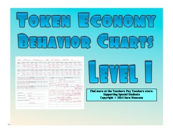 Token Economy Behavior Charts Level 1