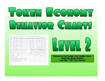 Token Economy Behavior Charts Level 2