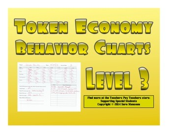 Token Economy Behavior Charts Level 3