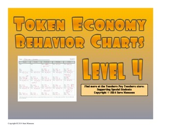 Token Economy Behavior Charts Level 4