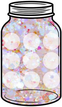 Token Jar - White Glitter Jar