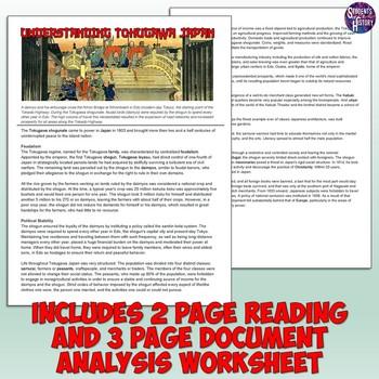 Tokugawa Japan Reading and Document Analysis Activity