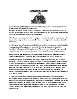 Tokugawa Leyasu Biography Article and Assignment Worksheet
