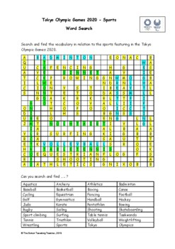 Tokyo Olympics 2020 Sports - Word Search (PDF)