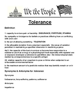 Tolerance Definition and Writing Prompt