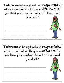 Tolerance Reader Mini Book Character Education