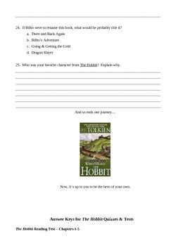 Tolkien's The Hobbit Chapter & Novel Tests & Quizzes