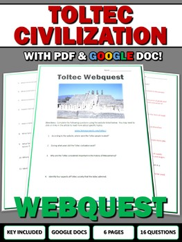 Toltec (Mesoamerican) - Webquest with Key (Google Doc Included)