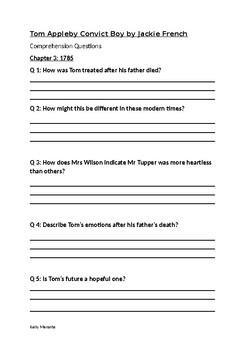 Tom Appleby Convict Boy Novel Study Comprehension Questions