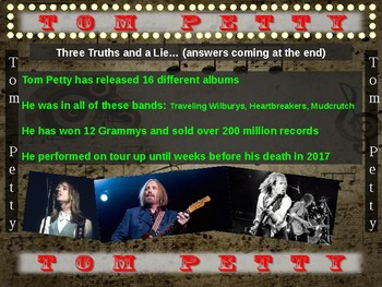 Tom Petty: 25 slides with text, hyperlinks, primary sources, & handouts